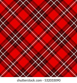 Plaid check pattern in red and white. Seamless fabric texture print.