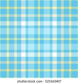 Plaid check pattern in robin egg blue, golden yellow and white. Seamless fabric texture print.