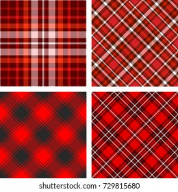 Plaid check patterns in red, white and black. Set of four seamless fabric texture prints.