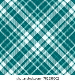Plaid check in shades of teal green, pale turquoise and white. Seamless fabric texture pattern.