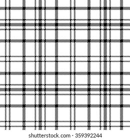 Plaid checkered tartan seamless pattern in black and white colors. Vector