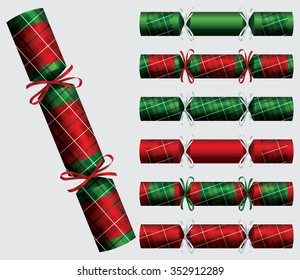 Plaid Christmas cracker set in vector format.