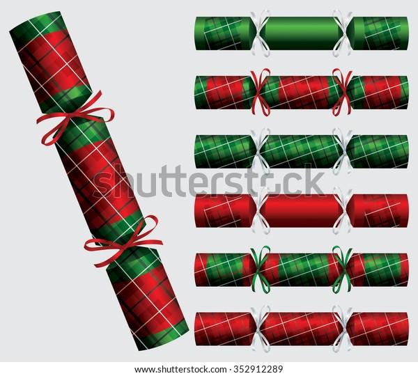Plaid Christmas cracker set in vector format.