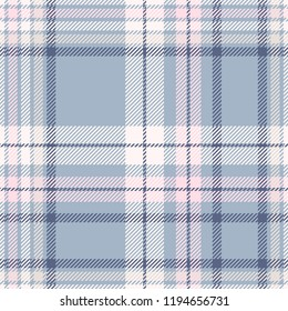 Plaid design in dusty blue, pink, off-white and tan. Seamless pattern.