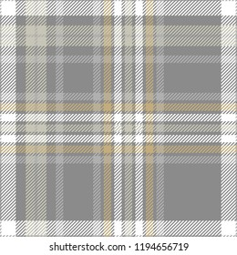 Plaid design in gray, pale khaki, brown and white. Seamless pattern.
