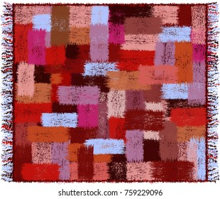 Plaid with geometric pattern with grunge striped weave  colorful rectangular elements and fringe isolated on white