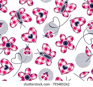 plaid hearts daisies butterfly and ladybugs for textile print,fabric