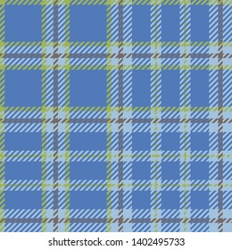 Plaid madras seamless pattern. Blue tartan textile background