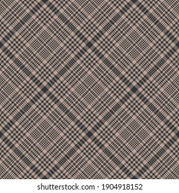 Plaid pattern abstract texture in brown and beige. Seamless dark tartan glen houndstooth check plaid graphic for jacket, coat, skirt, other modern spring autumn winter glen fashion textile print.