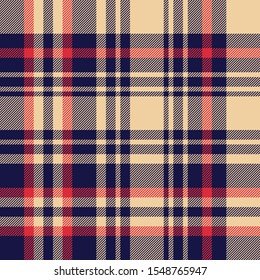 Plaid pattern background. Seamless dark large asymmetric check plaid graphic in blue, red, and sand beige for flannel shirt, blanket, throw, upholstery, duvet cover, or other modern fabric design.