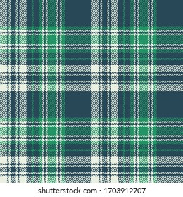 Plaid pattern background. Seamless Scottish tartan check plaid graphic in blue, green, white for flannel shirt, blanket, throw, duvet cover, or other modern summer fabric design.