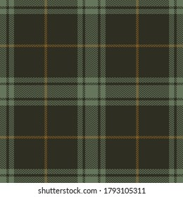 Plaid pattern in brown and green. Herringbone textured seamless tartan check plaid background for flannel shirt or other modern autumn winter textile print.