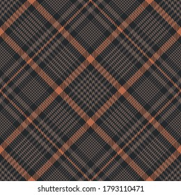 Plaid pattern in brown and orange. Glen seamless tartan check plaid for skirt, tablecloth, blanket, duvet cover, or other modern autumn winter textile print. Hounds tooth tweed texture.