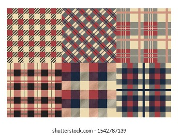 Plaid pattern. Classic Scottish cage texture, abstract geometric seamless ornament set textiles patterns. Vector tartan backdrop scotland cloth collection garment