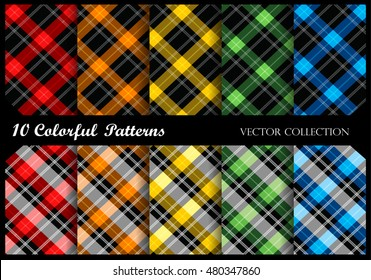 Plaid pattern collection / simple plaid pattern swatches in many colors