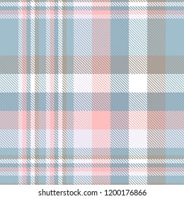 Plaid pattern in dark pastel blue, pink, taupe and white. Seamless fabric texture print.