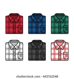 Plaid pattern flannel shirts set, mens fashion illustration. Vector line icons of folded shirts in different colors.