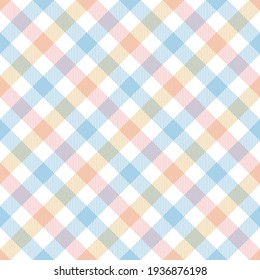 Plaid pattern gingham check vector in pastel blue, pink, yellow, white. Seamless multicolored Easter holiday vichy tartan graphic for tablecloth, picnic blanket, oilcloth, other spring summer design.