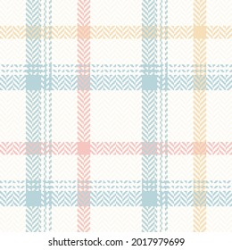 Plaid pattern herringbone for spring in pastel blue, pink, yellow, white. Seamless light windowpane tartan check graphic background for scarf, jacket, coat, other modern fashion textile print.