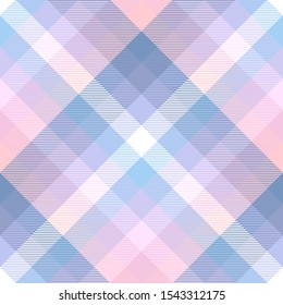 Plaid pattern in pastel blue, pink and white.