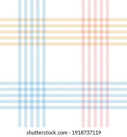 Plaid pattern pastel spring in blue, pink, yellow, white. Seamless light tartan herringbone textured checkered plaid background art for scarf, blanket, duvet cover, other modern fashion textile print.