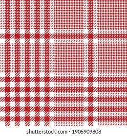 Plaid pattern in red white for Christmas design. Seamless bright glen tartan check plaid graphic for flannel shirt, skirt, tablecloth, blanket, duvet cover, other modern festive winter textile design.