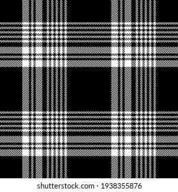 Plaid pattern seamless in black and white. Herringbone dark textured tartan check graphic vector for autumn winter flannel shirt, skirt, blanket, poncho, throw, other modern fashion textile design.