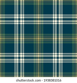 Plaid pattern seamless in blue, green, gold. Seamless dark textured tartan check background for flannel shirt, skirt, blanket, other modern spring summer autumn winter fashion textile design.