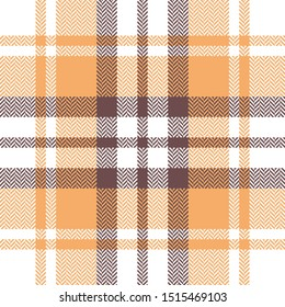 Plaid pattern. Seamless multicolored vector tartan check plaid texture in soft orange, brown, white,taupe for flannel shirt, scarf, blanket, and other modern textile design.