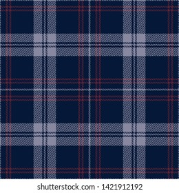 Plaid pattern seamless vector background. Tartan check plaid in dark blue, wine red, and grey for flannel shirt or other modern fabric design. Stripe texture.