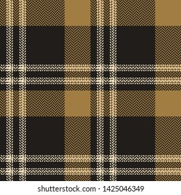 Plaid pattern seamless vector background in gold and grey. Tartan check plaid for modern everyday fabric design. Herringbone woven pixel texture.