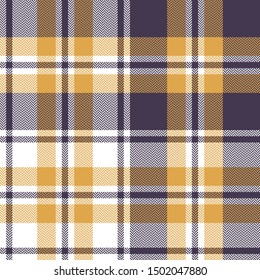Plaid pattern seamless vector background. Scottish herringbone tartan check plaid in dark purple, yellow gold, and white for flannel shirt, poncho, blanket, or other modern textile design.