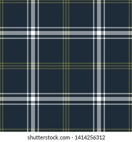 Plaid pattern seamless vector graphic. Tartan check plaid in dark blue, olive green, and white for modern fashion textile design. Hounds tooth stripe texture.