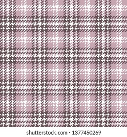 Plaid pattern seamless vector illustration in rose pink. Tartan tweed check plaid for fashion textile design. Houndstooth texture.