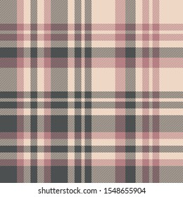 Plaid pattern seamless vector texture. Large striped asymmetric tartan check plaid background in pink, grey, and beige for flannel shirt, blanket, throw, duvet cover, or other modern textile design.