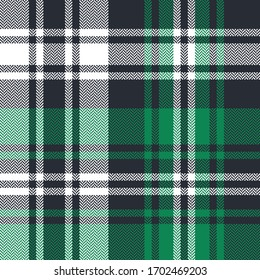 Plaid pattern seamless vector texture. Herringbone Scottish tartan check plaid background in green and white for flannel shirt, blanket, duvet cover, or other casual fashion fabric design.