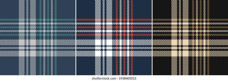 Plaid pattern set in black, gold brown, beige, navy blue, red, white, teal green, grey. Seamless dark tartan checks for flannel shirt or other modern spring autumn winter fashion textile design.
