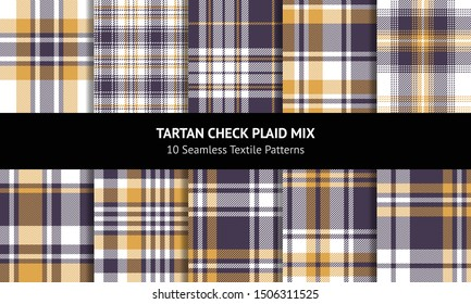 Plaid pattern set. Seamless Scottish tartan check plaid vector background in purple, yellow gold, and white for flannel shirt, blanket, upholstery, or other modern fabric design.