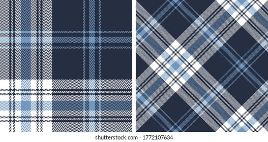 Plaid pattern vector in blue and white. Seamless herringbone textured Scottish tartan check plaid for flannel shirt, duvet cover, or other autumn winter textile print. Simple design.