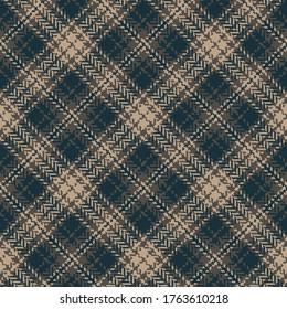 Plaid pattern vector in dark brown. Herringbone diagonal tartan check plaid for bag, skirt, jacket, dress, or other modern autumn winter tweed fashion textile print.