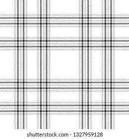 Plaid pattern in white, grey, and black. Seamless tartan check plaid for flannel shirt or other fabric design.