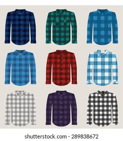 Plaid Patterned Shirts for Men Vector Set