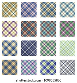 Plaid patterns collection, 16 seamless tartan patterns, muted shades, retro colors
