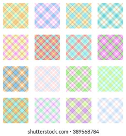 Plaid patterns collection, tartan designs, trendy pastel scottish backgrounds for fabric