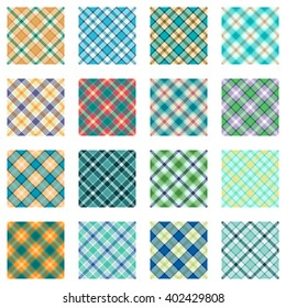 Plaid patterns collection, tartan designs, trendy scottish backgrounds for fabric.