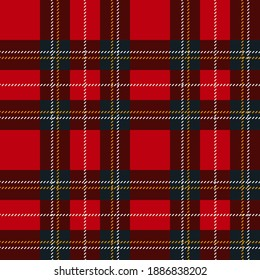 Plaid Scottish seamless pattern.Red, bordo,gray, white and yellow colors. Tartan, plaid, clothes, shirts, tablecloths. Fabric texture seamless pattern. Stock vector illustration.