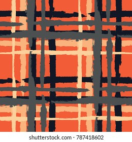 Plaid. Seamless Grunge Texture with Hand Painted Crossing Brush Strokes for Print, Upholstery, Cloth. Rustic Check Texture. Vector Seamless Tartan. Scottish  Ornament