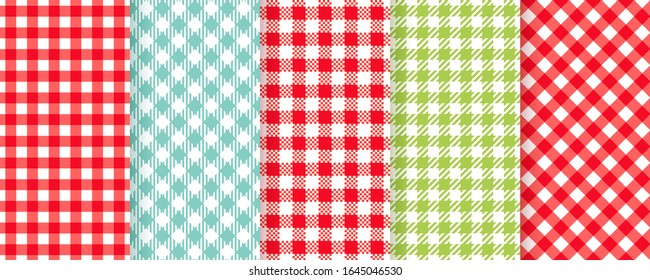 Plaid seamless pattern. Vector. Checkered texture. Picnic napkin. Tartan background. Set gingham pixel, buffalo textile prints. Geometric red white cloth. Abstract illustration. Simple trendy design.