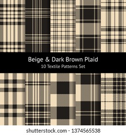 Plaid seamless patterns vector set in beige and dark brown. Tartan plaid & gingham / vichy / buffalo check. Herringbone, weave, hollow squares and pixel texture. Swatches included.