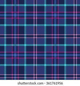 Plaid tartan checkered seamless pattern. Blue, pink, turquoise, magenta. Vector